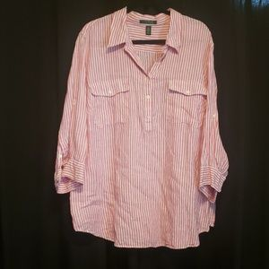 Lauren plus size 3x pink white blouse
